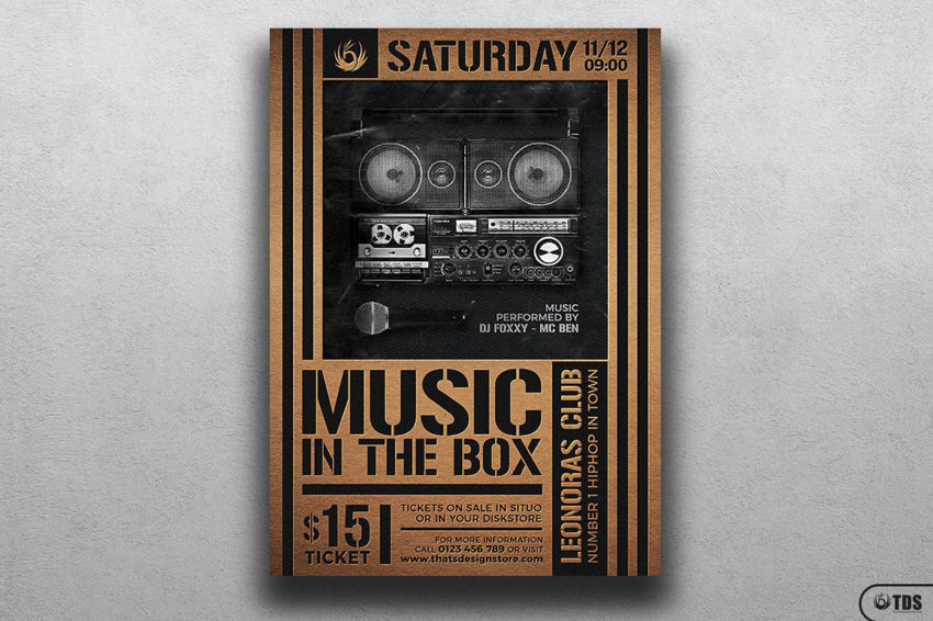Music in the box Flyer Template Psd