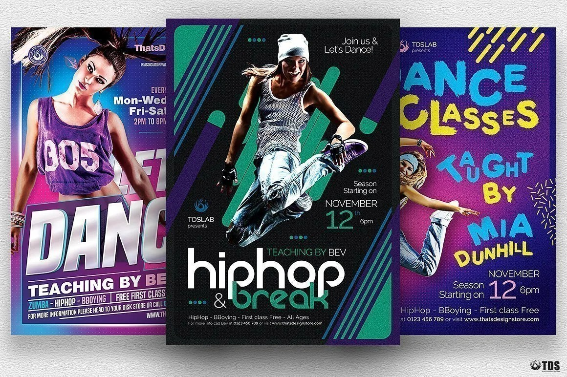 Dance Classes Flyer Bundle Thats Design Store