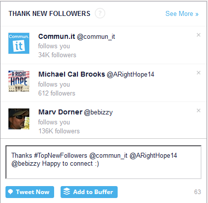 Thank new followers section in commun.it