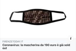 coronavirus mask Fendi