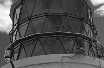 LIghthouse lens closeup - Black and White