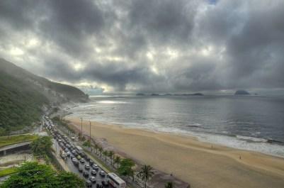 Traffic Jam by the Beach in Rio, Brazil