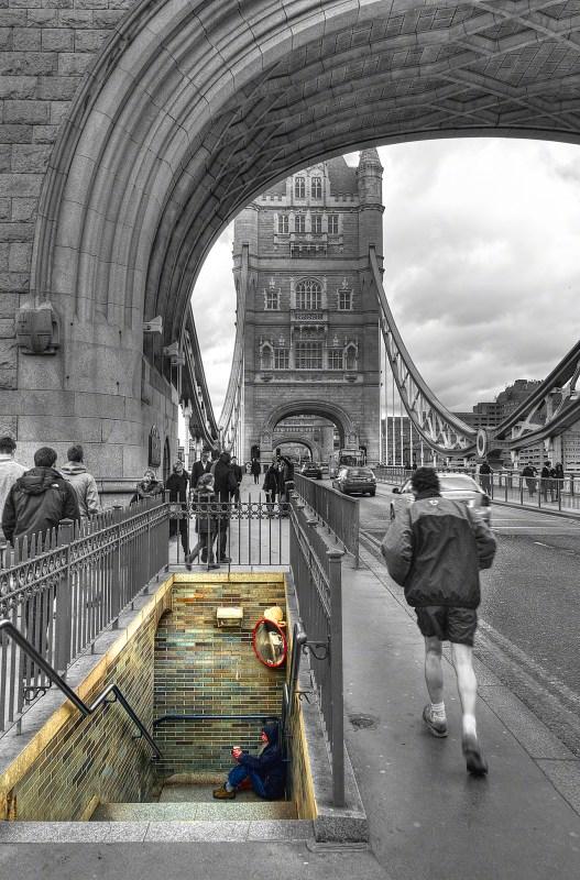Beggar at London Tower Bridge