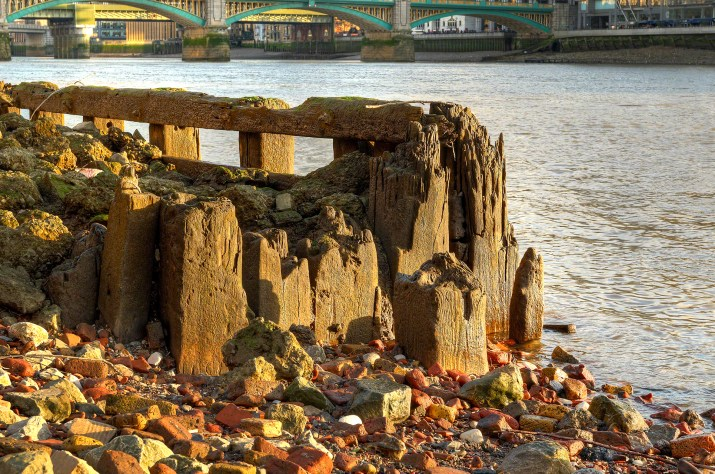 Old pier on the river Thames, London