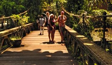 walking over an old bridge