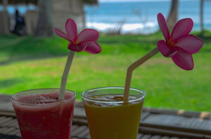 Cold drinks while watching the surf