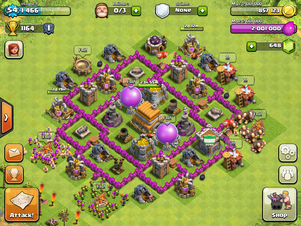 Clash of clans Town Hall 6 Trophy Base - 6