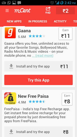 Earn Free Recharge App - mcent
