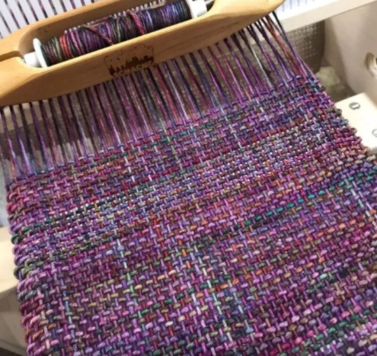 purple and berry scarf on rigid heddle loom