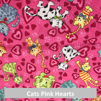 cats pink hearts fabric