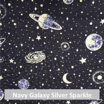 navy galaxy silver sparkle fabric