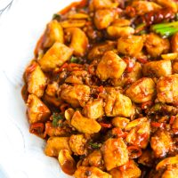 Kung Pao Chicken on a white plate that is cut off from the frame on the right side.