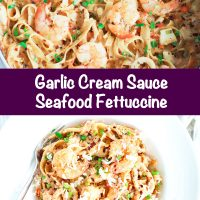 LongPin - Photo 1: Garlic Seafood Fettuccine in a black pan. Photo 2: Overhead view of a deep white pasta plate with Garlic Cream Sauce Seafood Fettuccine and a silver fork sticking out of the plate on the side.