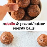 Long Pin - Top photo: Hand reaching for a Nutella & Peanut Butter Energy Ball from a bowl that is stacked high with energy balls. Bottom Photo: Nutella & Peanut Butter Energy Balls lined up on top of non-stick cooking paper.