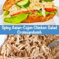 Long Pin - Top Photo: Spicy Asian-Cajun Chicken Salad Croissandwich on a white plate. Bottom Photo: Ingredients for Spicy Asian-Cajun Chicken Salad tossed together in a bowl with a spoon sticking out of it.