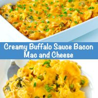 Long Pin - Top photo: Diagonally placed 9x13 white baking dish with Creamy Buffalo Sauce Bacon Mac and Cheese, fully baked and garnished with chopped spring onion greens. In the back left is a stack of white plates with a silver spoon on top. Bottom photo: Front view of two diagonally placed white plates with a serving of the Creamy Buffalo Sauce Bacon Mac and Cheese on each. A silver fork is tucked under the side of the mac and cheese on each plate.