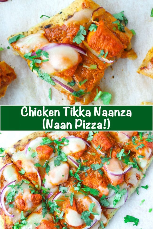 Naan with spicy pizza sauce, chicken tikka pieces, red onion, cheese, and chopped coriander