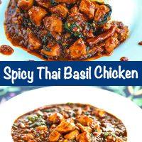 spicy thai basil chicken stir-fry with a thai fried egg