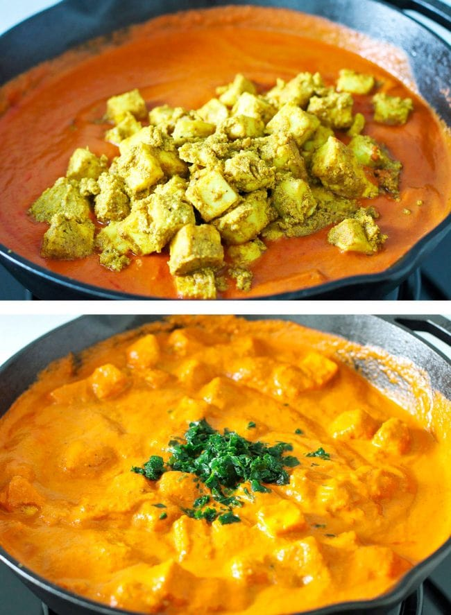 Adding marinated cooked paneer to butter masala sauce. Mixing in fenugreek leaves into skillet with paneer butter masala.
