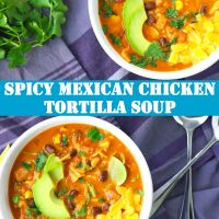Two bowls of Mexican Chicken Tortilla Soup with spoons on the side on top of a blue background