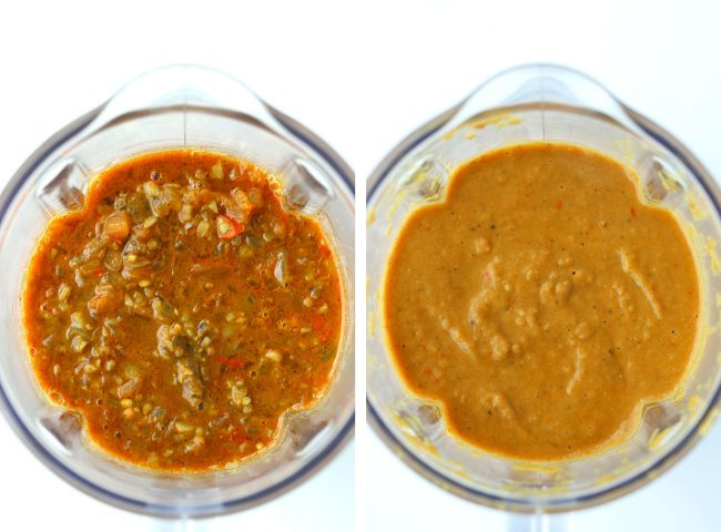 butter tomato curry before and after blending in blender jug