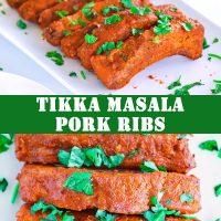 orange tikka masala pork ribs with coriander leaves on top on a white long plate