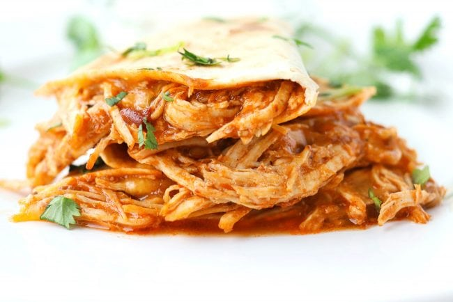 Close up of stacked salsa chicken quesadilla