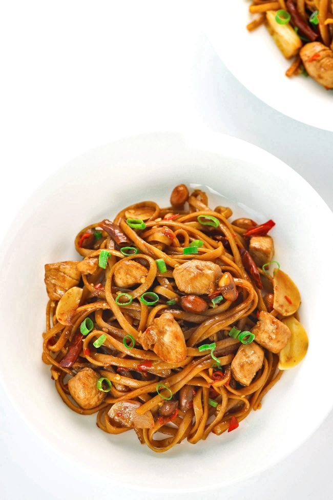 Kung Pao Chicken Linguini on plates
