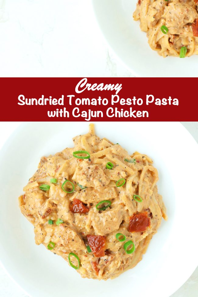 Sundried Tomato Pesto Pasta with Cajun Chicken on white round plates