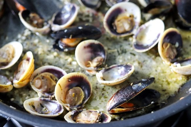 Cooked clams and mussels simmering in pan with white wine, butter, oil, and herbs