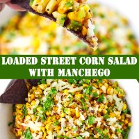 Fingers holding up a blue corn tortilla chip with some corn salad and a bowl filled with corn salad.