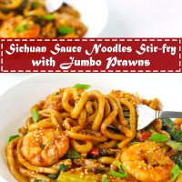 Stir-fry Sichuan Sauce Noodles with Jumbo prawns and spring onion garnish on white plates.