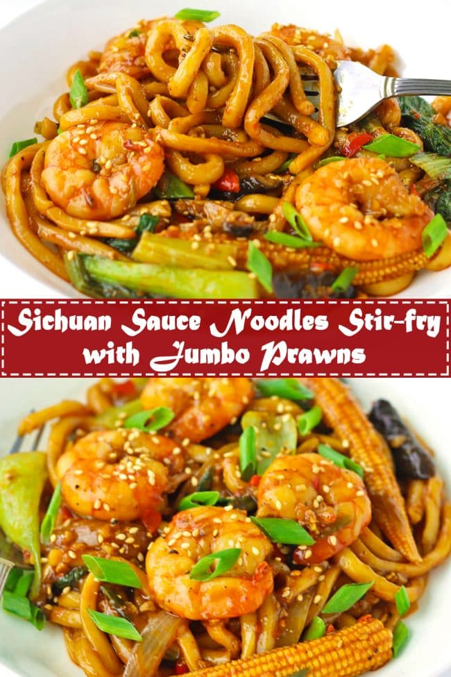 Stir-fry Sichuan Sauce Noodles with Jumbo prawns and spring onion garnish on a plate.