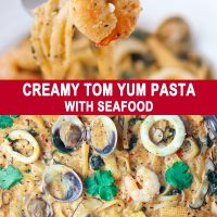 Fork with piece of shrimp at the tip and Creamy Tom Yum Pasta with seafood in large pan