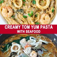 Creamy Tom Yum Pasta with seafood in a white plate and a pan with pasta, seafood, and spinach being tossed in a tom yum cream sauce.