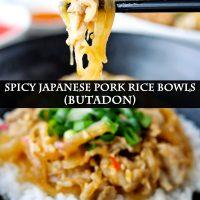 Chopsticks with a piece of pork belly over a Japanese Pork Rice Bowl.