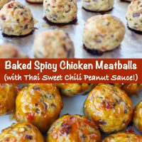 Chicken meatballs cooked on a foil lined baking tray, and on a plate coated with sweet chili sauce