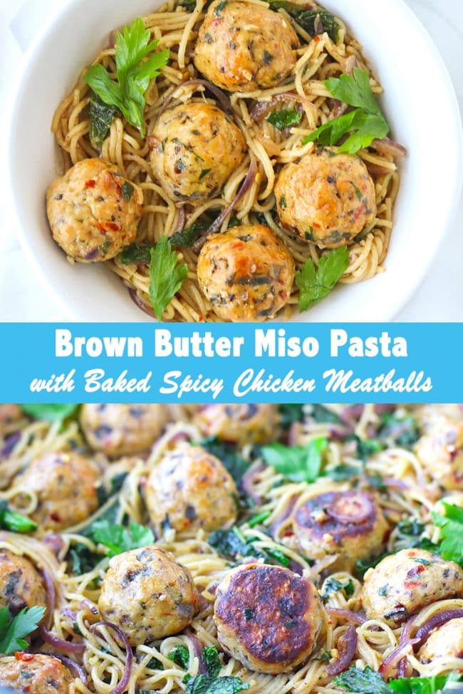 White bowl and large pan with Brown Butter Miso Pasta with Baked Spicy Chicken Meatballs.