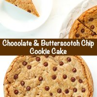 Slice of chocolate chip cookie cake on a small white plate and unsliced cookie cake with chocolate chips.