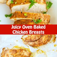 Baked chicken breasts garnished with chopped parsley on a plate, and on a foil lined baking tray.