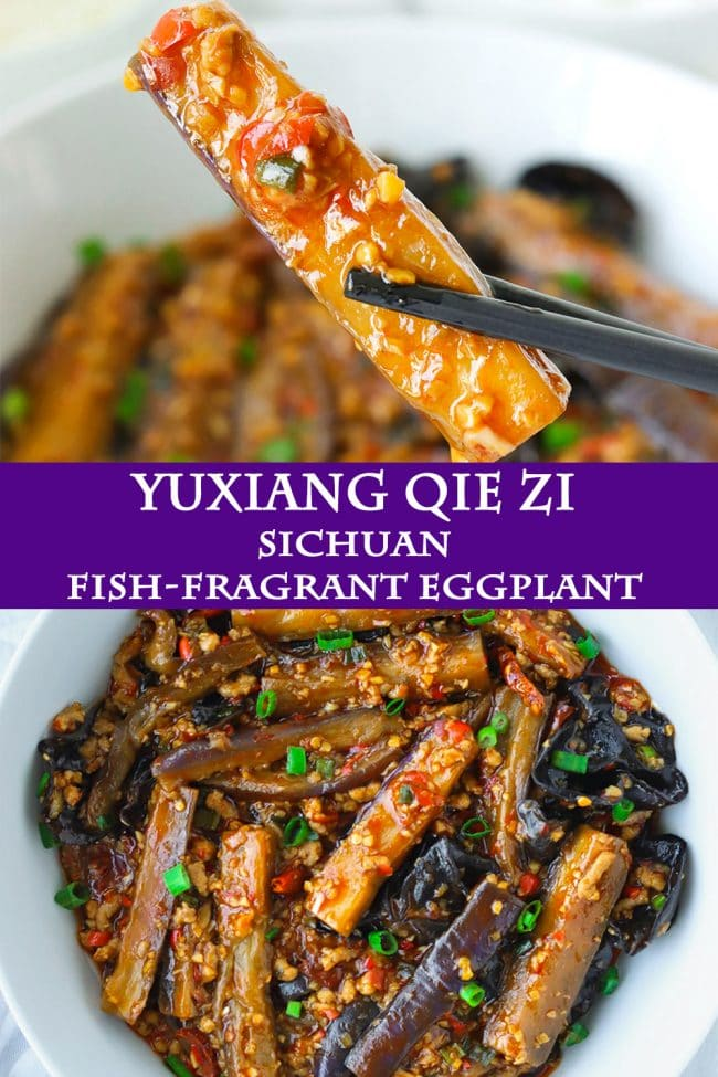 Black chopsticks holding up a sauce coated eggplant strip and Yu Xiang Eggplant stir-fry with ground pork and cloud ear mushrooms in a round white serving bowl.