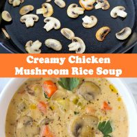 Mushrooms browning in a black cast iron skillet, and a bowl with Creamy Chicken Mushroom Rice Soup and a silver spoon.