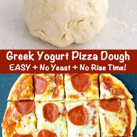 A ball of dough on a floured work surface and top view of a pepperoni pizza that's cut into squares and made with Greek yogurt pizza dough.