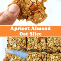 Hand holding up an apricot and almond oat slice with a bite taken out of it, and apricot almond oat bars on parchment paper.