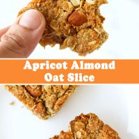 Hand holding up an apricot and almond oat slice with a bite taken out of it, and two oat slices on a white plate.