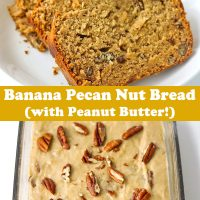 Four slices of banana nut bread on white plate and batter topped with chopped pecans in glass loaf dish.