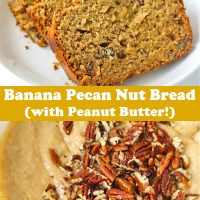 Four slices of Banana Pecan Nut Bread on a white round plate, and batter topped with chopped pecans in mixing bowl.