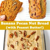 Hand holding up a bitten into slice of banana pecan nut bread, baked banana pecan bread on cooling rack, and batter topped with chopped pecans in glass loaf dish.