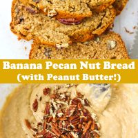 Three slices of Banana Pecan Nut Bread on parchment paper, and batter topped with chopped pecans in mixing bowl.