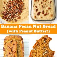 Batter with pecans in mixing bowl, batter topped with pecans in glass loaf dish, baked banana pecan bread on cooling rack, hand holding up a bitten into slice of banana pecan nut bread.